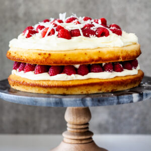 White chocolate raspberry cake.
