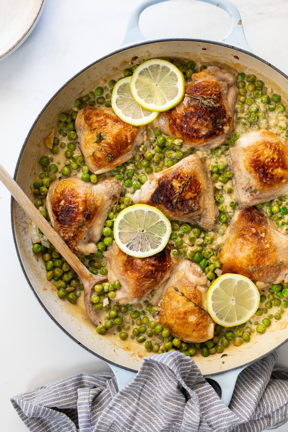 Crispy Chicken Thighs with Lemony Creamed Peas