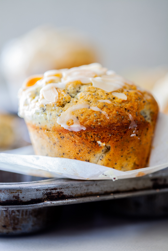 Easy Almond Lemon Poppy Seed Muffins with lemon glaze.