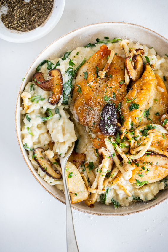Parmesan risotto with chicken and mushrooms