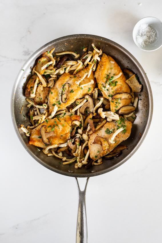 Crispy, golden chicken with mushrooms.