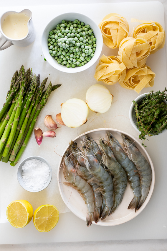 Ingredients for lemon shrimp pasta