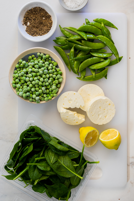 Ingredients for warm spinach salad.