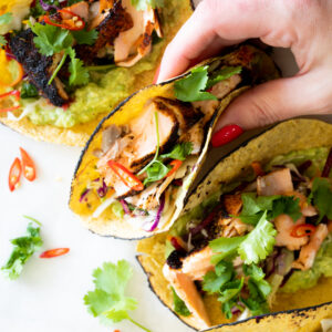 Blackened Salmon Tacos with Smashed Avocado