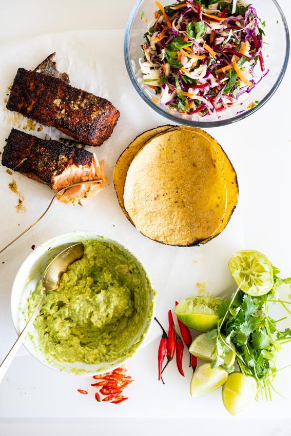 Blackened Salmon Tacos with Smashed Avocado and slaw