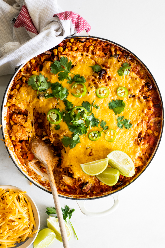 Cheesy Mexican chicken and rice bake