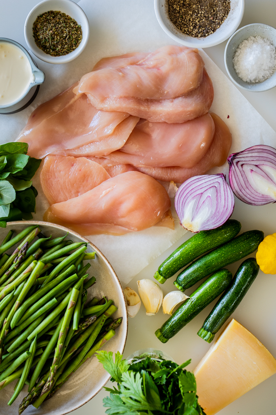 Ingredients for creamy lemon chicken pasta primavera