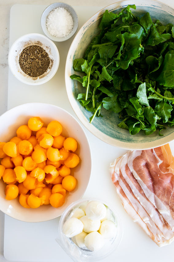 Ingredients for prosciutto melon salad.