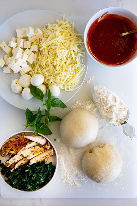 Ingredients for Greek chicken pizza