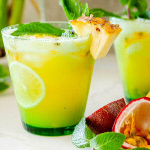 Fresh pineapple and passion fruit mojito