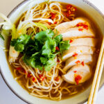 Spicy Miso Soup with Poached Chicken and Noodles