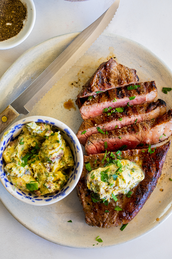 Grilled steak with Anchovy Compound Butter