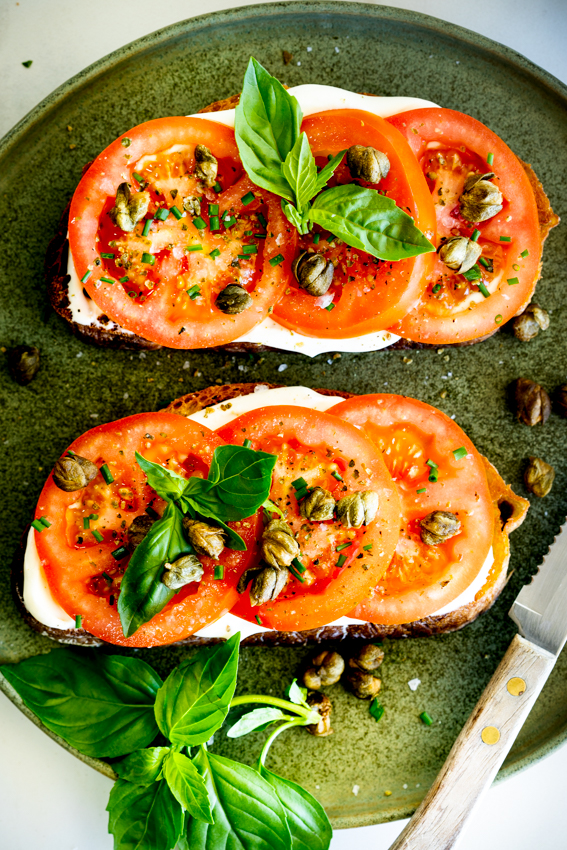 Easy Tomato Toast with Whipped Goat's Cheese