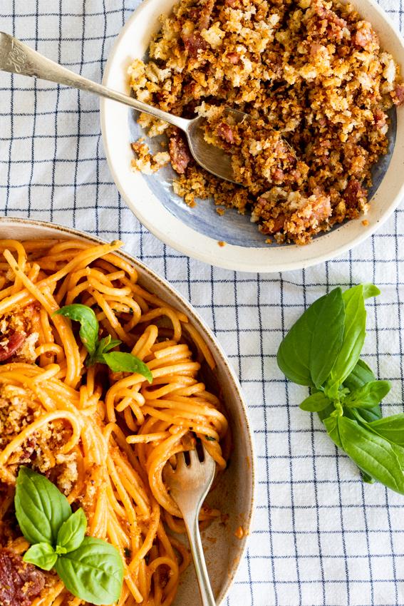 Creamy tomato pasta with bacon breadcrumbs