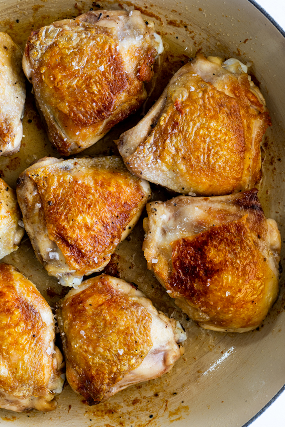 Crispy chicken thighs.