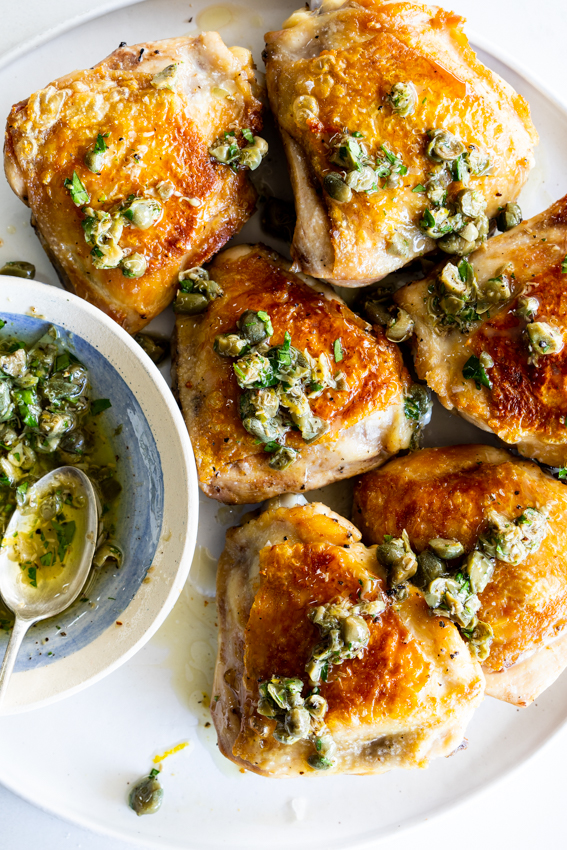 Crispy chicken thighs with caper sauce