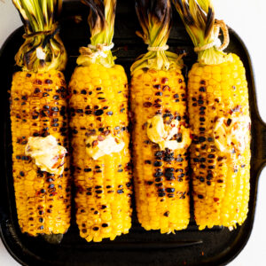 Grilled Corn on the cob with hot honey butter