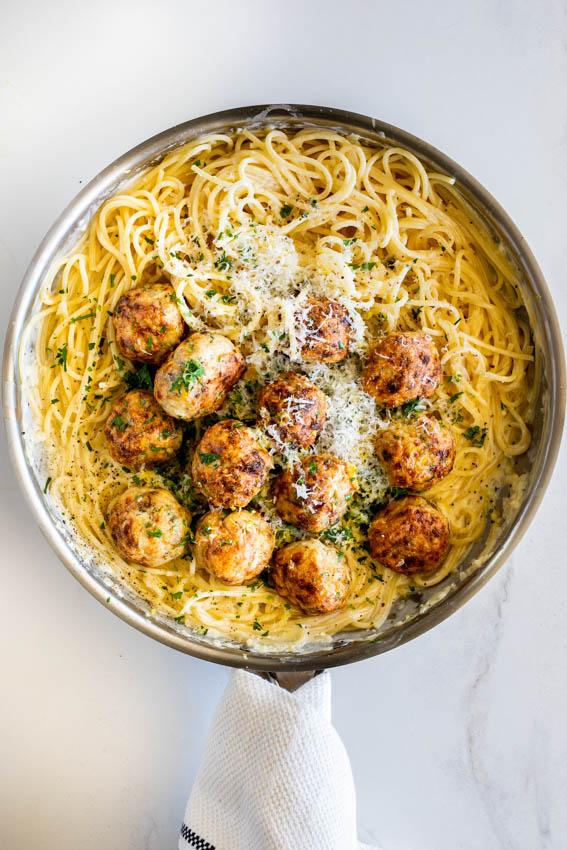 Spaghetti al limone with chicken meatballs