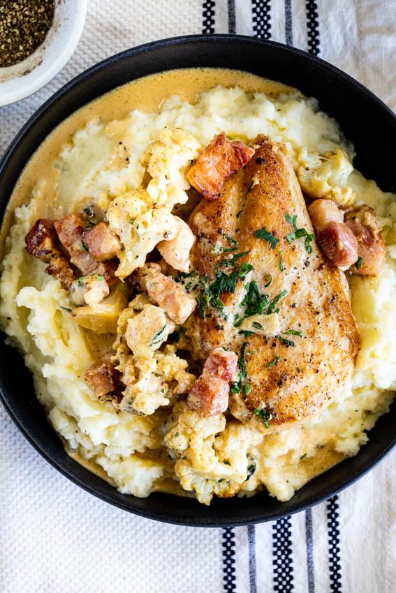 Creamy Cauliflower Chicken with creamy mashed potatoes.