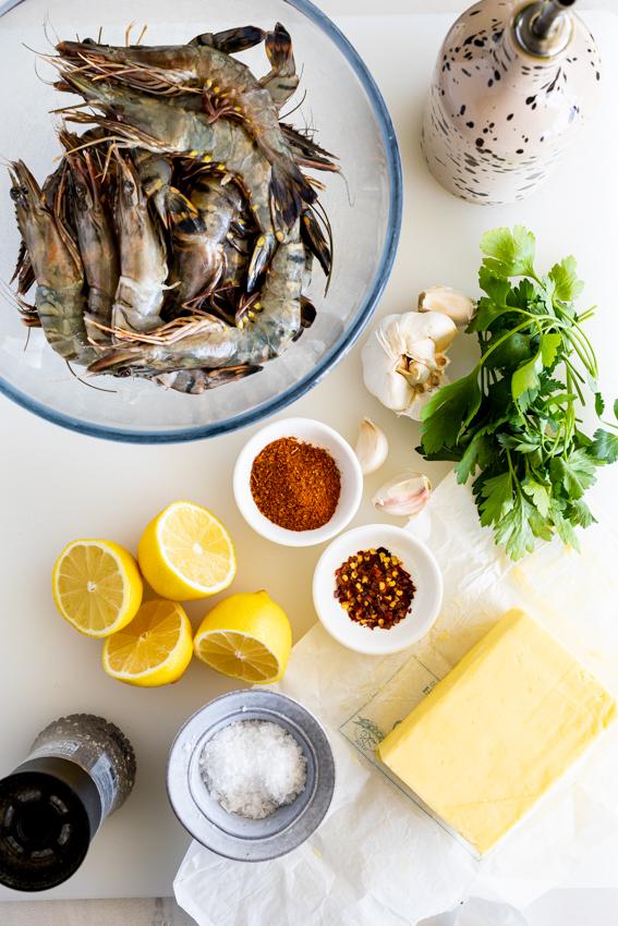 Ingredients for grilled garlic butter prawns