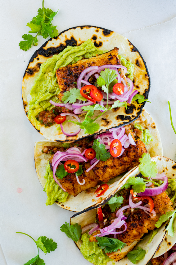 Pan seared fish tacos with smashed avocado