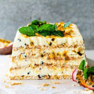 Passionfruit ice box cake