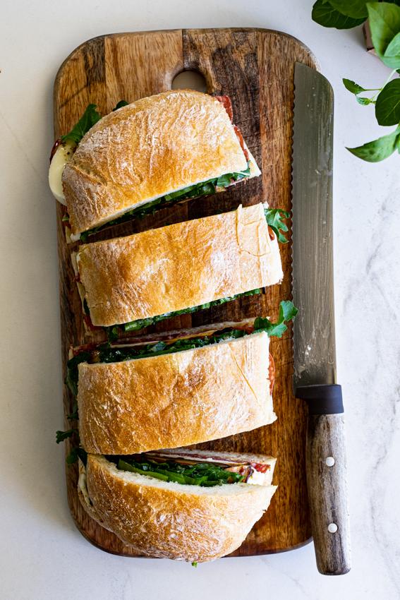 Family-Size Salami, Mozzarella and Eggplant Ciabatta Sandwich