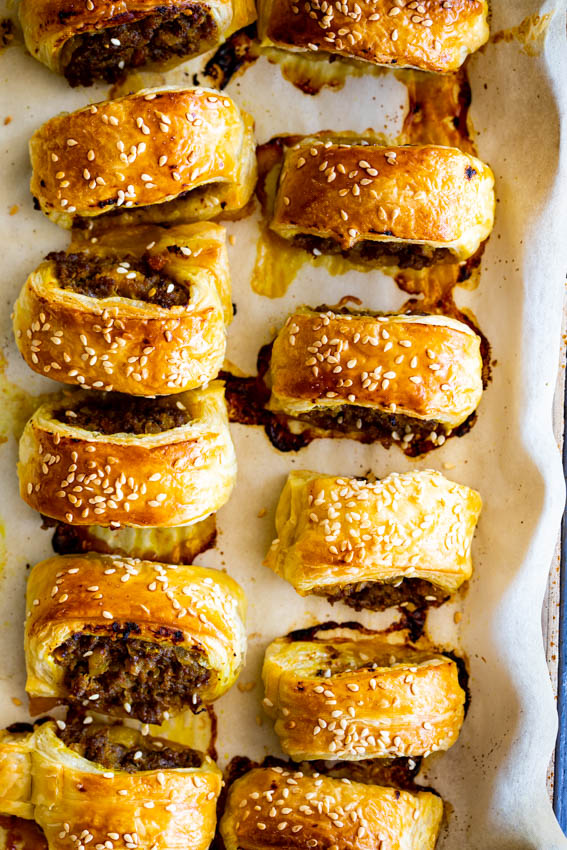 Curried sausage rolls