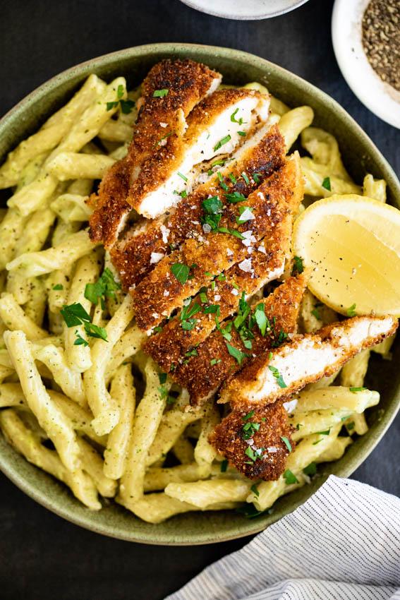 Crispy chicken basil pasta