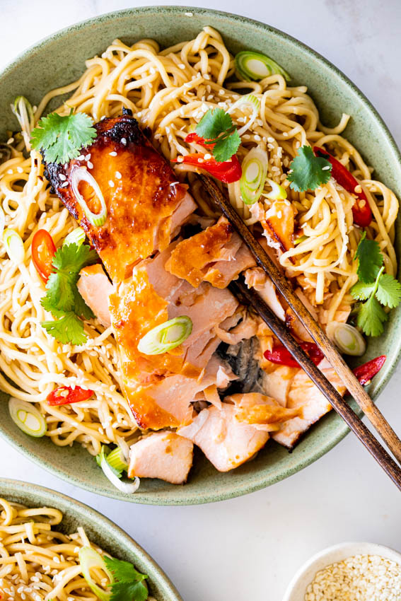 Miso Salmon with Garlic Noodles