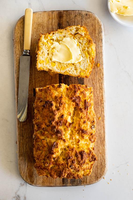 Cheesy corn beer bread