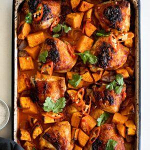 Easy Sheet pan Harissa Chicken