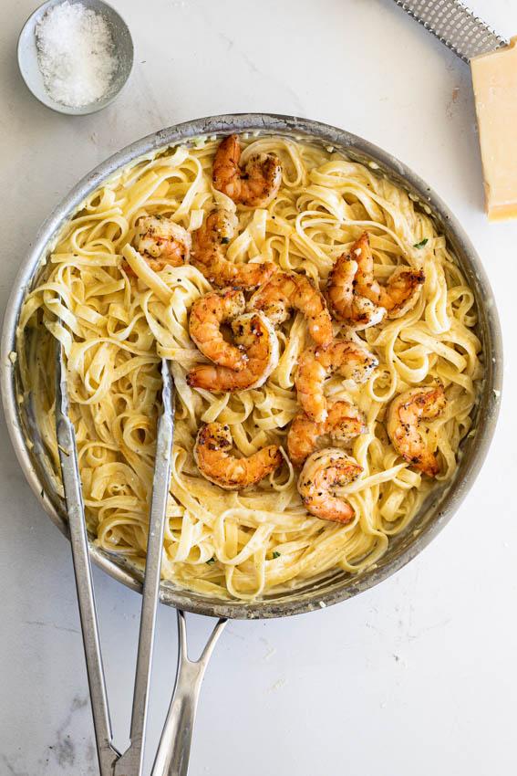 Easy Shrimp Alfredo with fettucine.