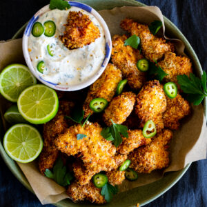 Air Fryer Popcorn Chicken with Jalapeño Ranch