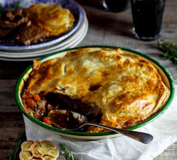 Slow-cooked lamb, rosemary and roasted garlic pie
