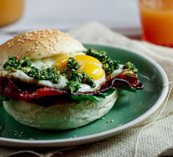 Bacon & Egg rolls with almond & chilli Pesto