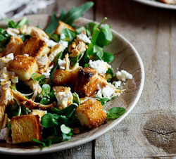 Left-over Roast chicken salad with goat's cheese & sourdough croutons