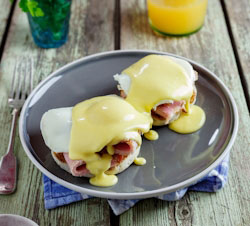 Eggs Benedict with left-over Gammon