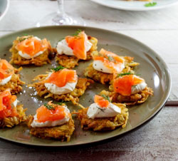 Starters & Canapés: Rösti with Smoked Salmon & cream cheese