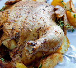 Herbed Roast Chicken with Duck Fat Roast potatoes