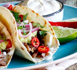 "Slow-braised Short Rib Tacos with ""quick-pickled"" red onion"