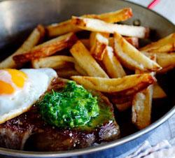 Steak and Egg with Herbed Chilli-Butter (with chips)
