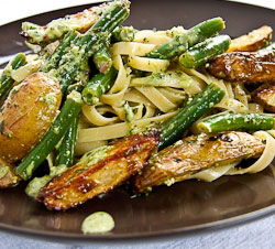Tagliatelle with New Potatoes, Green Beans and Pesto (Meatless Monday)